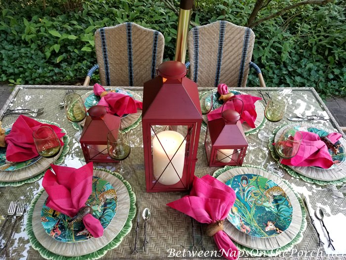Outdoor Dining Safari Jungle Table Setting