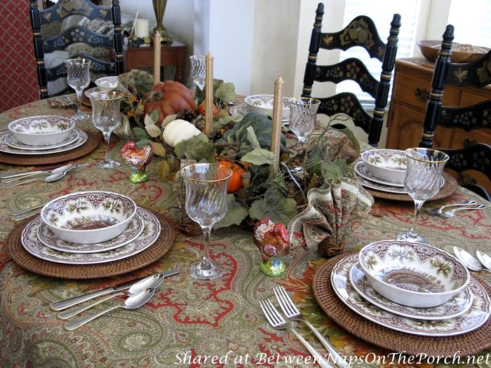 Paisley Tablecloth for Autumn or Thanksgiving Table Setting, Tablescape