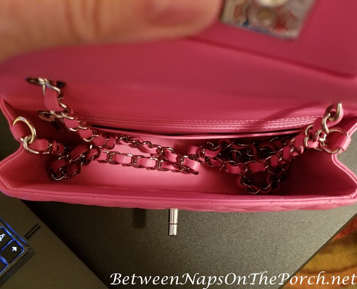 Pink Chanel Handbag, Chain Stored Inside, Lambskin Protected from Damage