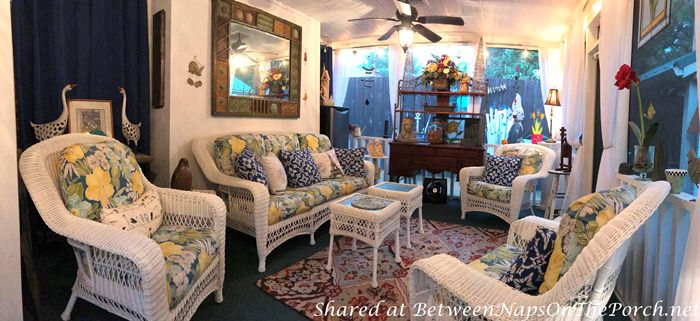 Screened Porch with White Wicker