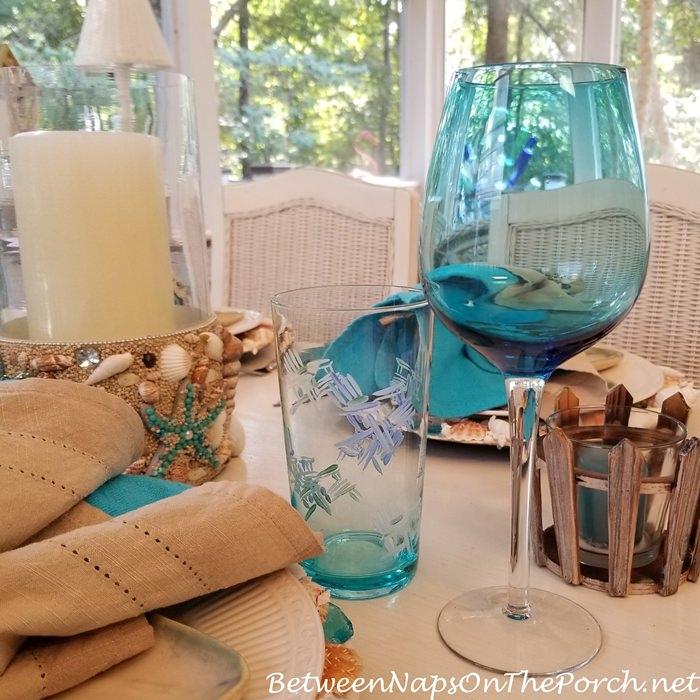 Aqua Blue Wine Glasses, Adirondack Decorated Glasses