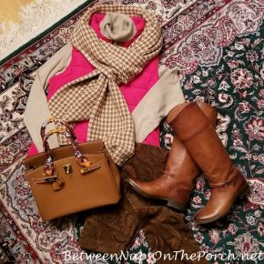 Autumn Clothing, Frye Boots, Hermes Cashmere Houndstooth Scarf, Orvis Cashmere Sweater