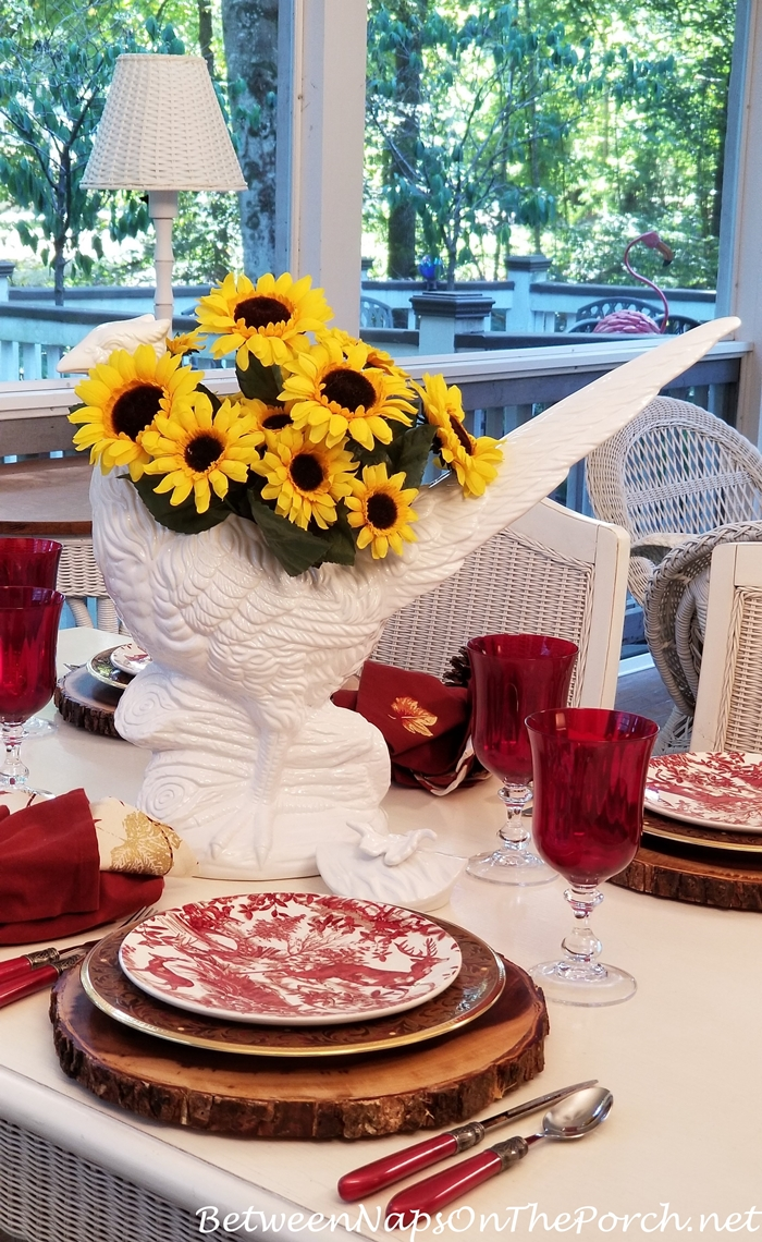 Autumn Table Setting with Sunflowers