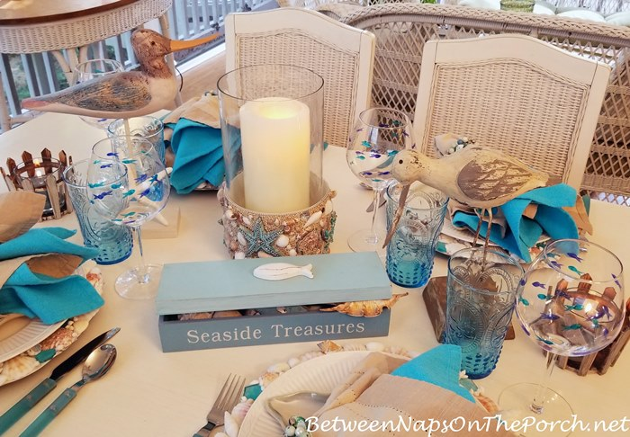Beach Seaside Themed Table Centerpiece, Shell Covered Lantern