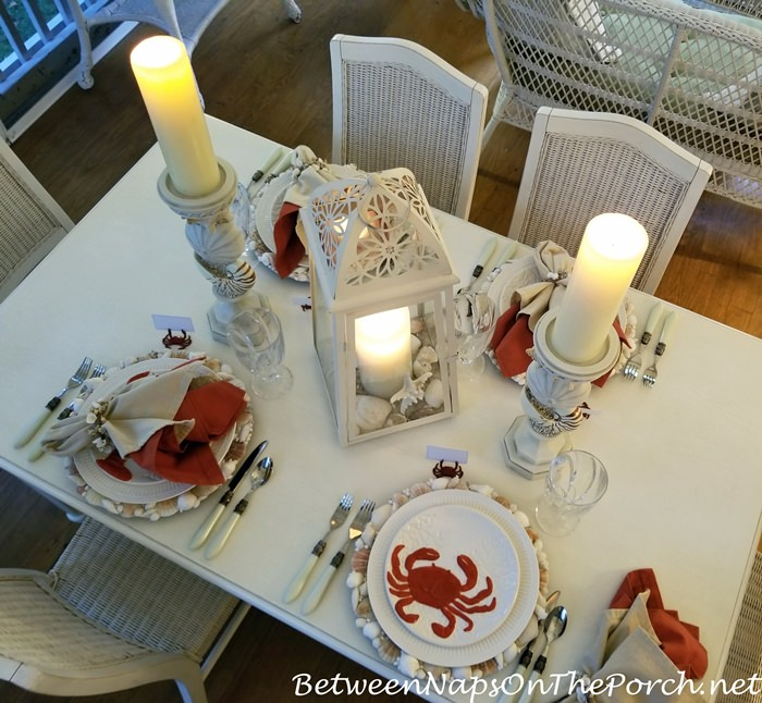 Beach Themed Table Setting with Crab, Lobster Plates, Candlelight