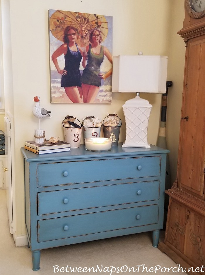 Blue Painted Chest, Beach Cottage Chest