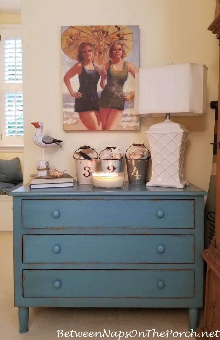 Blue Painted Chest for a Nautical Themed Room