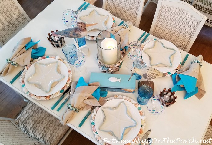 Blue and White Beachy Nautical Table Setting, Starfish Plates, Shell Chargers, Fish Glasses
