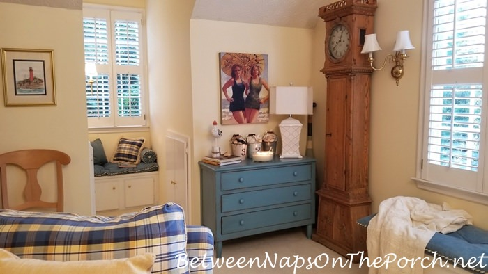 Blue and White Room with Blue Painted Chest