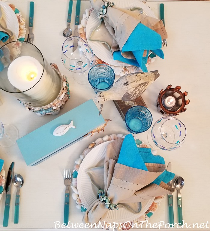 Candlelight Beach Themed Table, Shell Sea glass Chargers