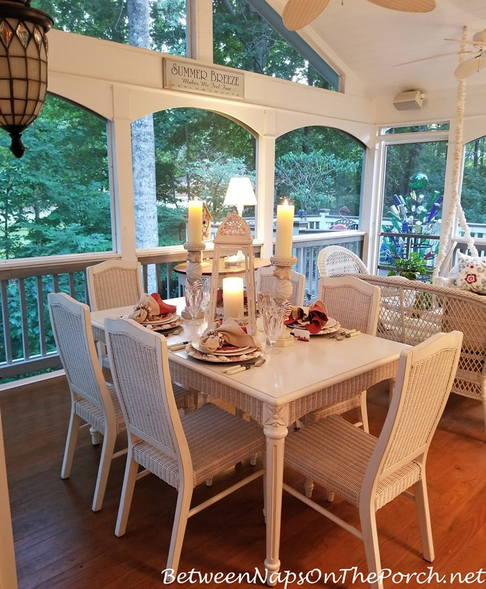 Candlelit Dinner, Screened Porch, BeachThemed Table Setting