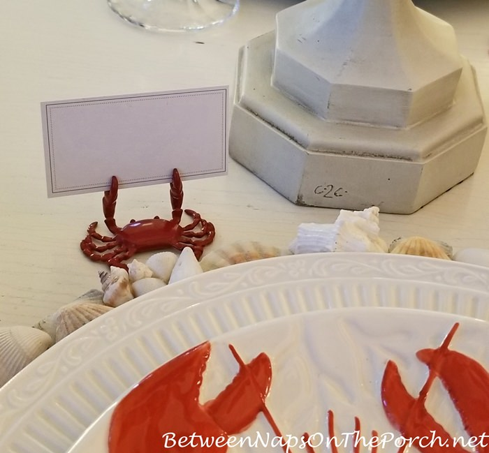 Crab Placecard Holders for Beach Themed Table