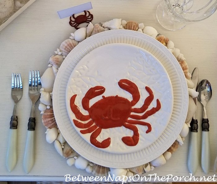 Crab Plate, Shell Charger, Beach Table