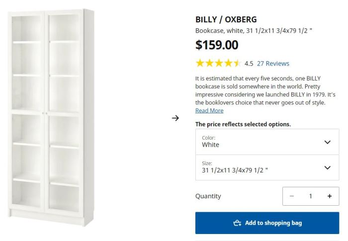 Ikea Billy Oxberg Bookcase with Glass Doors
