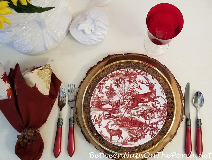 Noritake Xavier Dinner Plate with Deer Salad Plate for Fall