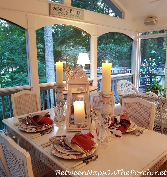 Porch Dining, Late Summer Table Setting