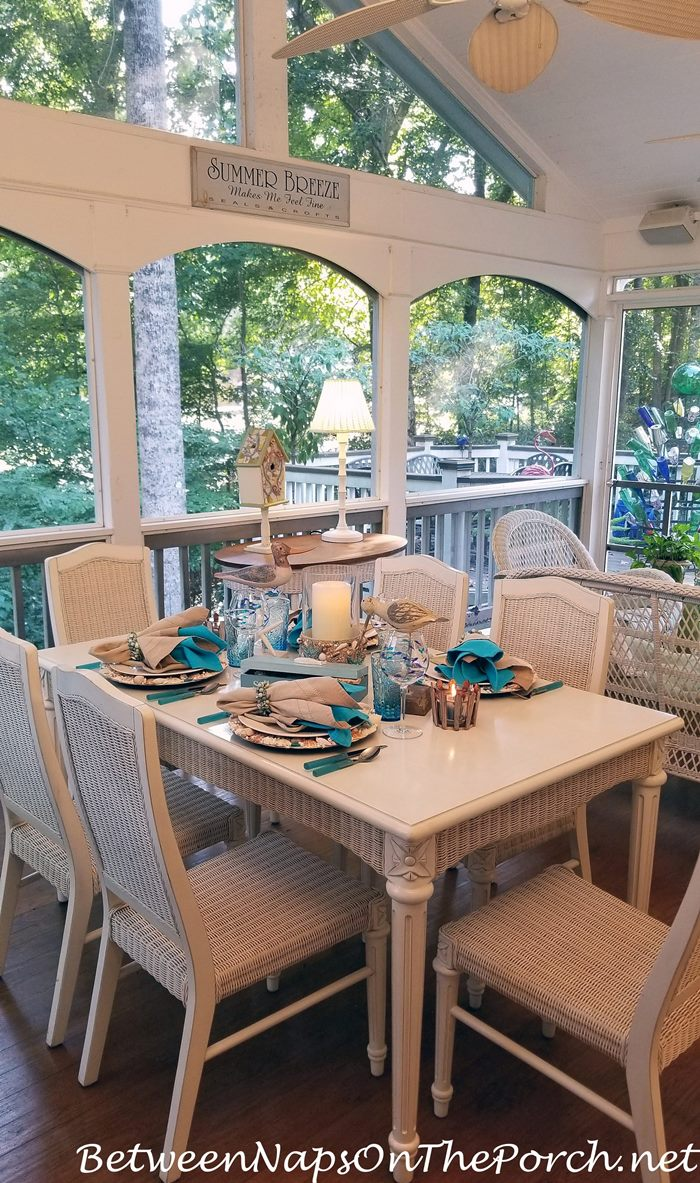 Screened Porch, White Wicker, Beach-Themed Tablescape