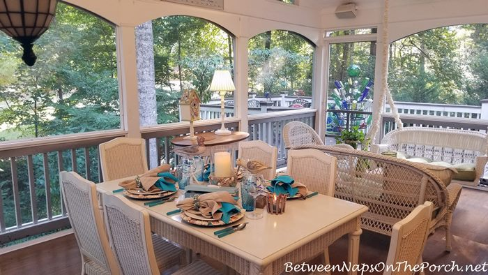 Screened Porch, White Wicker, Beachy Table Setting