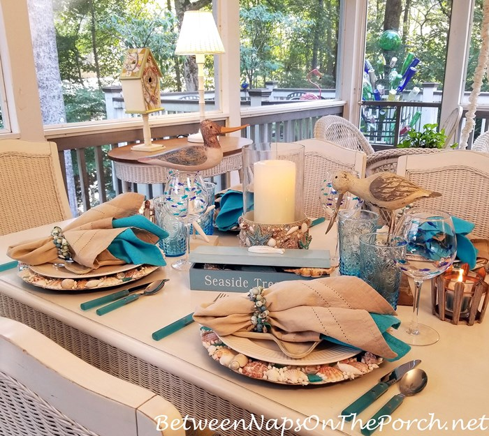 Seaside Beach Themed Table Setting with Shell Chargers