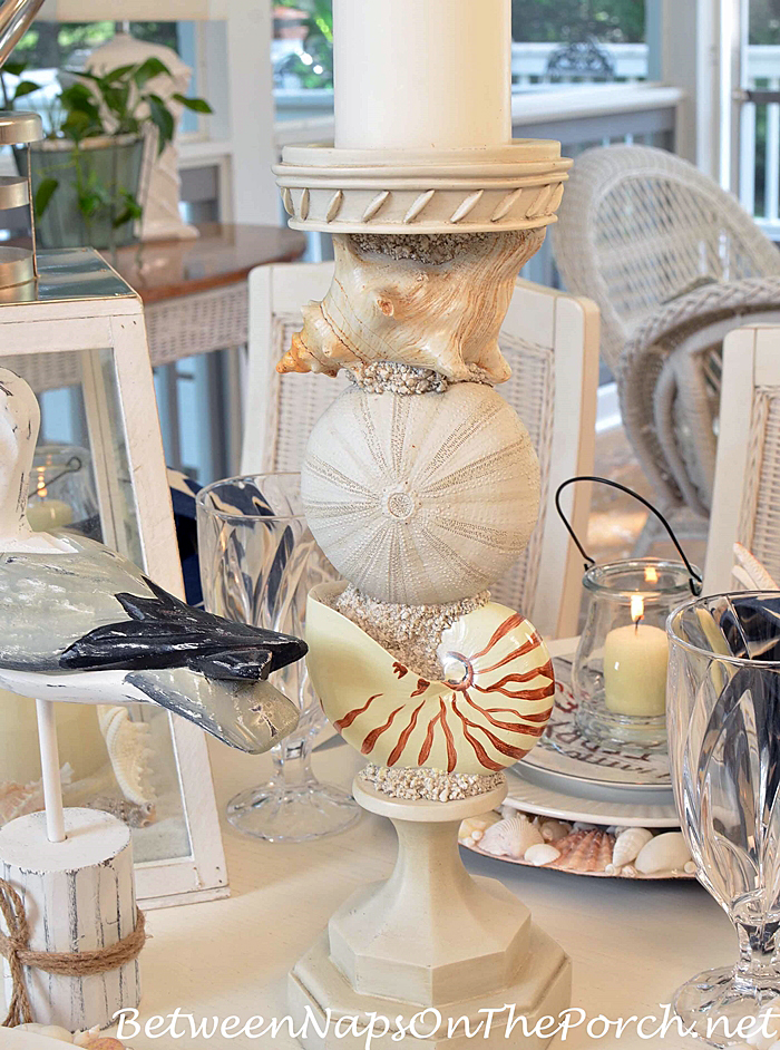 Shell-Candle-Holders, Beach Themed Table Setting