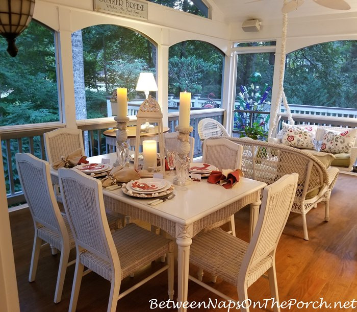 Summer Dining on the Porch, Beach Themed Table