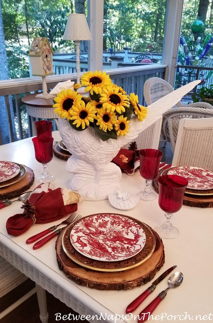 Sunflowers in White Pheasant Vase