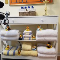 Whimsical Linen Storage with Rubber Ducks, Duckies