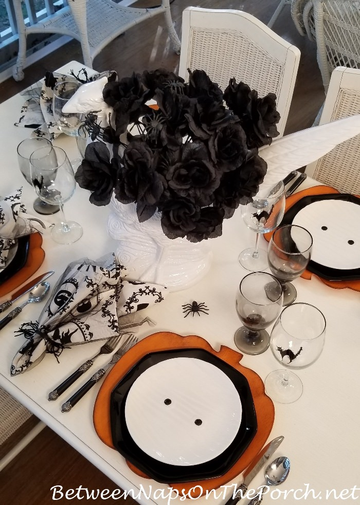 Black Roses & Spider Centerpiece for Halloween Table Setting