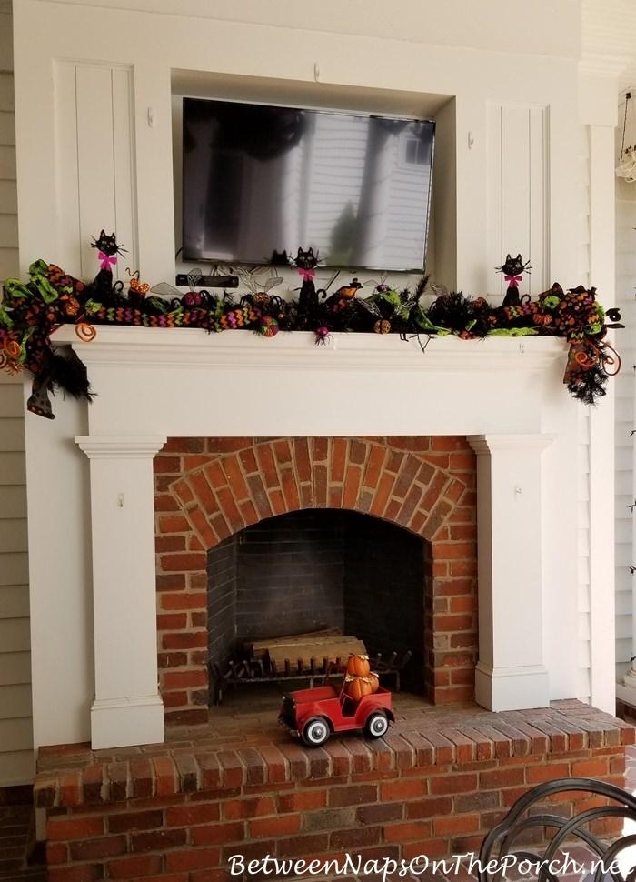 Halloween Mantel, Outdoor Fireplace
