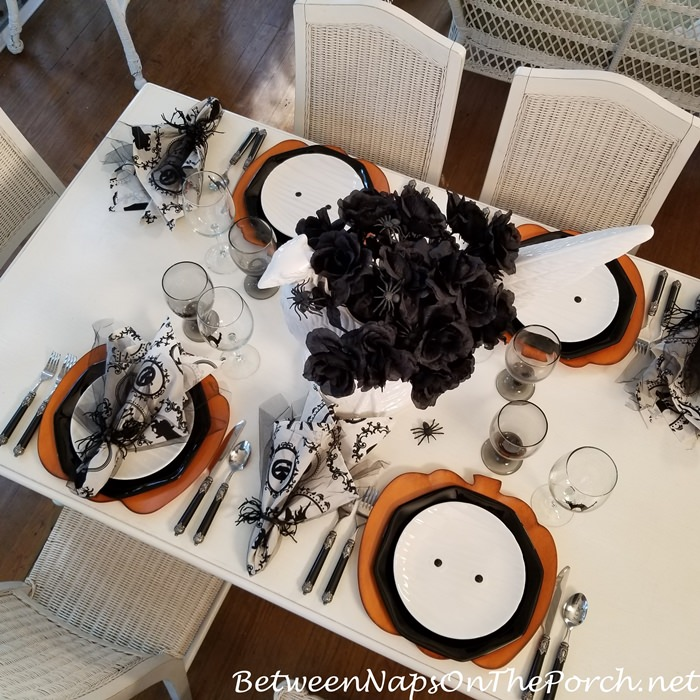 Halloween Table, Mummy Plates & Black Cat Glasses