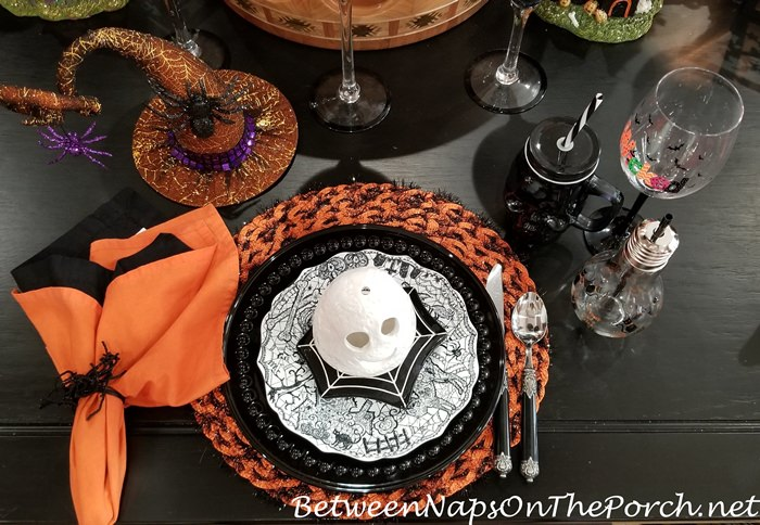 Halloween Table with Light Bulb Glasses