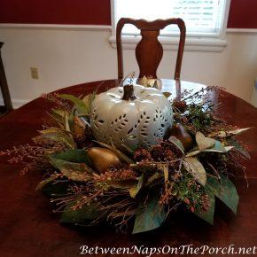 Lit Ceramic Pumpkin Centerpiece for Autumn