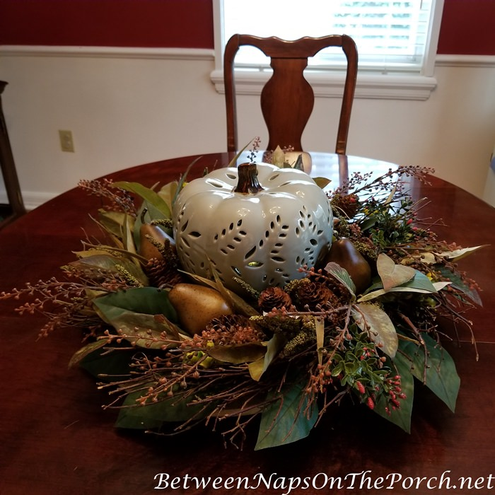 Lit Ceramic Pumpkin Centerpiece for Autumn