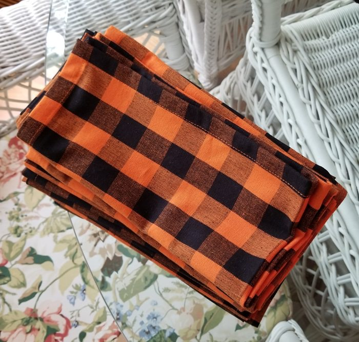 Orange & Black Buffalo Plaid Napkins for Halloween
