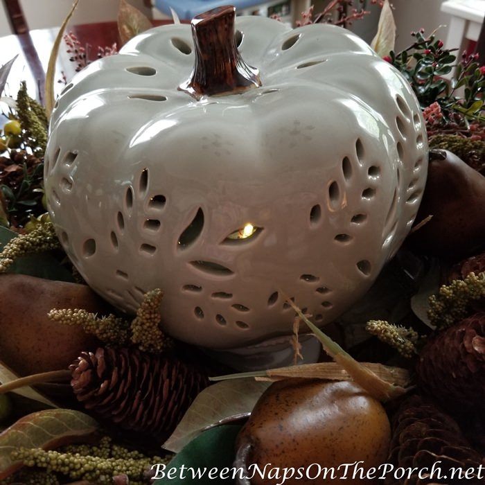 Pierced Ceramic Lit Pumpkin
