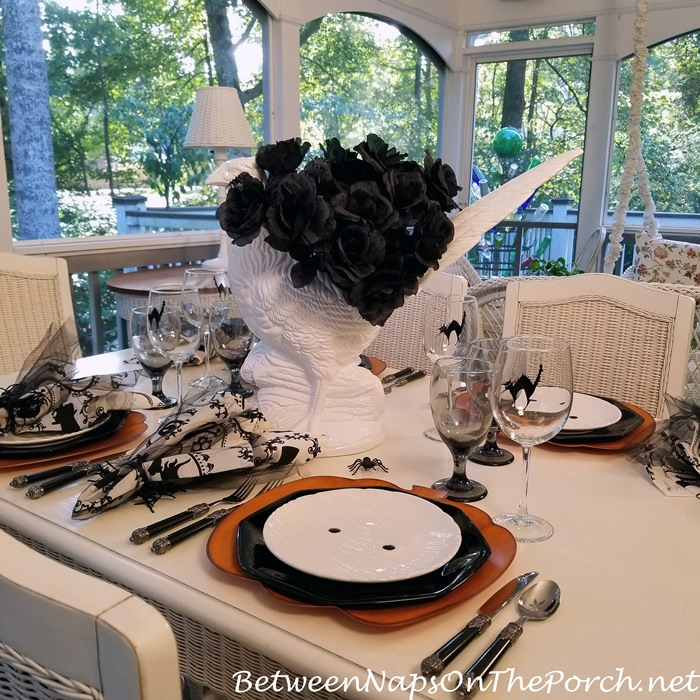 Whimsical Halloween Table with Mummy Salad Plates, Pumpkin Chargers & Black Roses-Spider Centerpiece