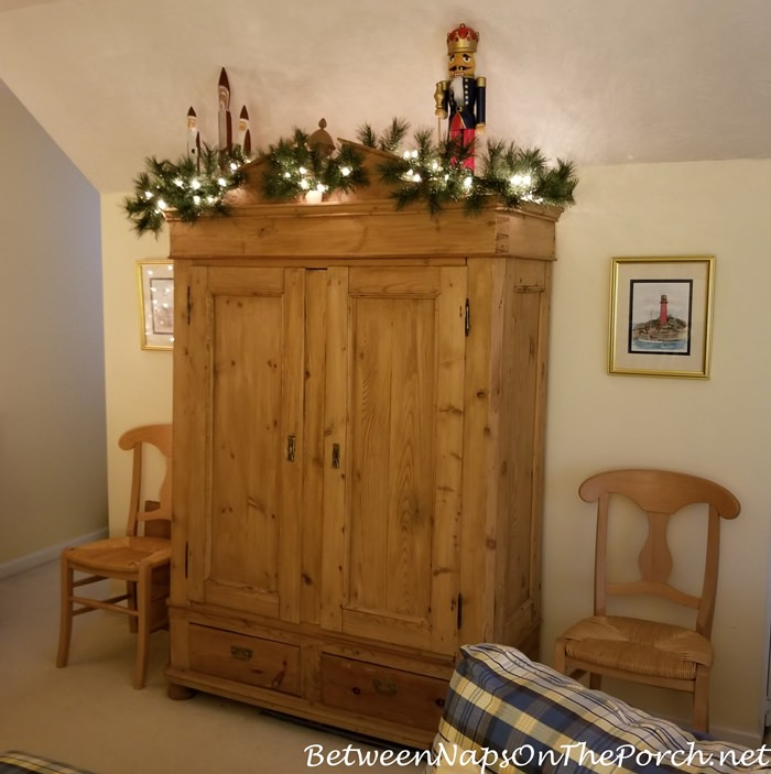 Antique Pine Armoire decorated for Christmas