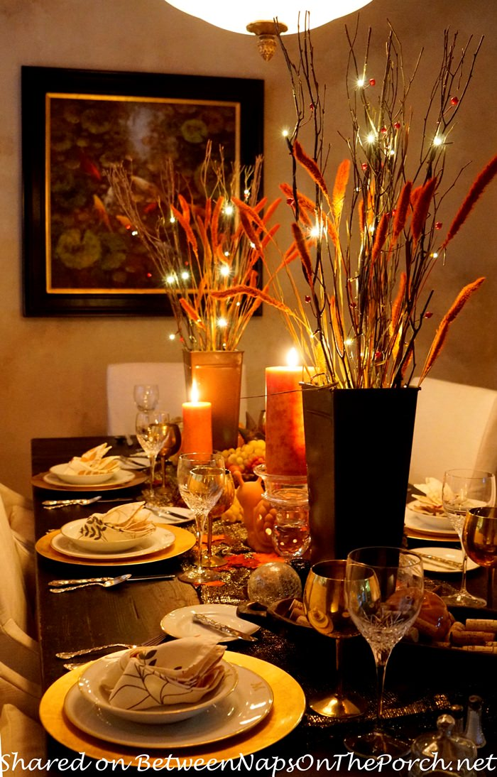 Beautiful Thanksgiving Table Setting, Candlelight