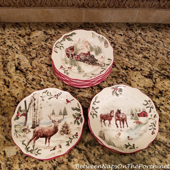 Christmas Dishware, Vintage Scenes