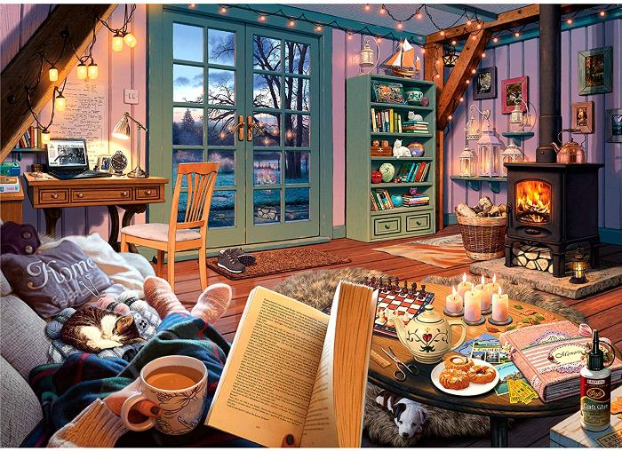 Cozy Puzzle for Winter, Book Lovers