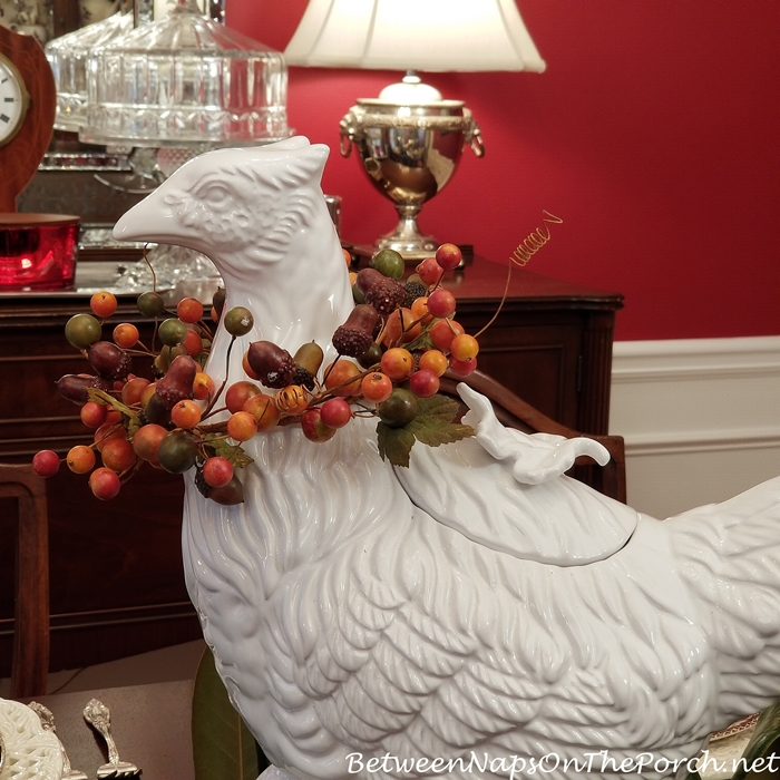White Pheasant for Thanksgiving Table Setting
