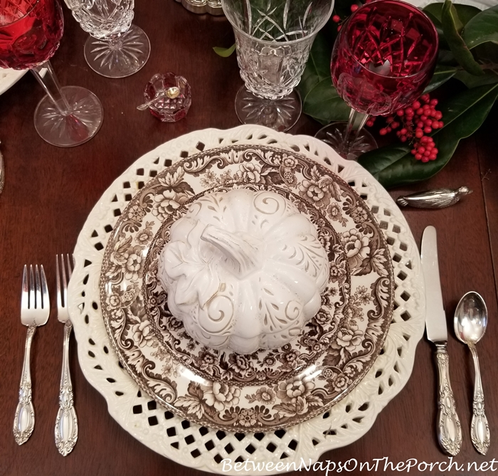 White Pumpkin Tureen, Thanksgiving Tablescape