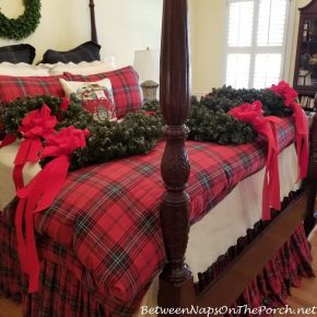 Wreaths on Exterior Windows, Ironing and Fluffing the Bows
