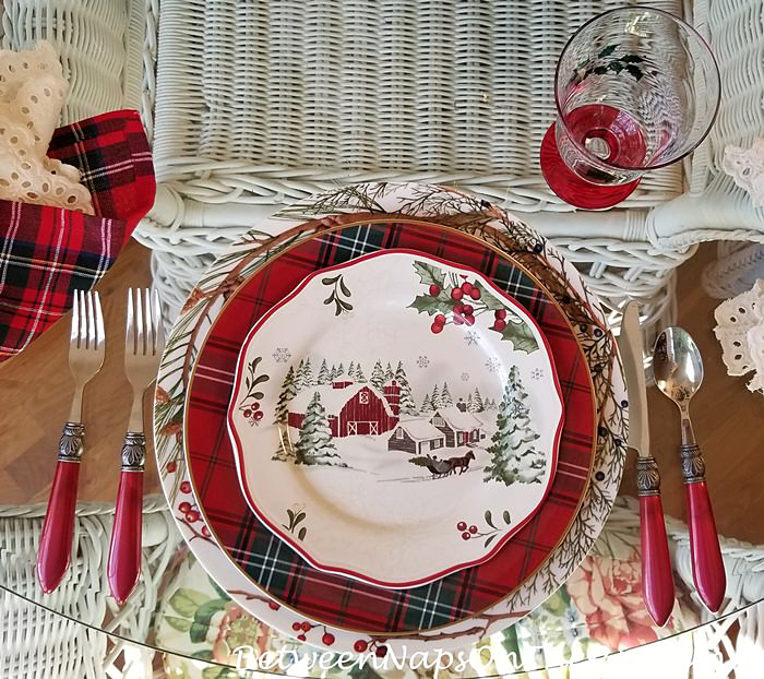 Christmas Dinnerware with Tartan Chargers and Woodland Chargers
