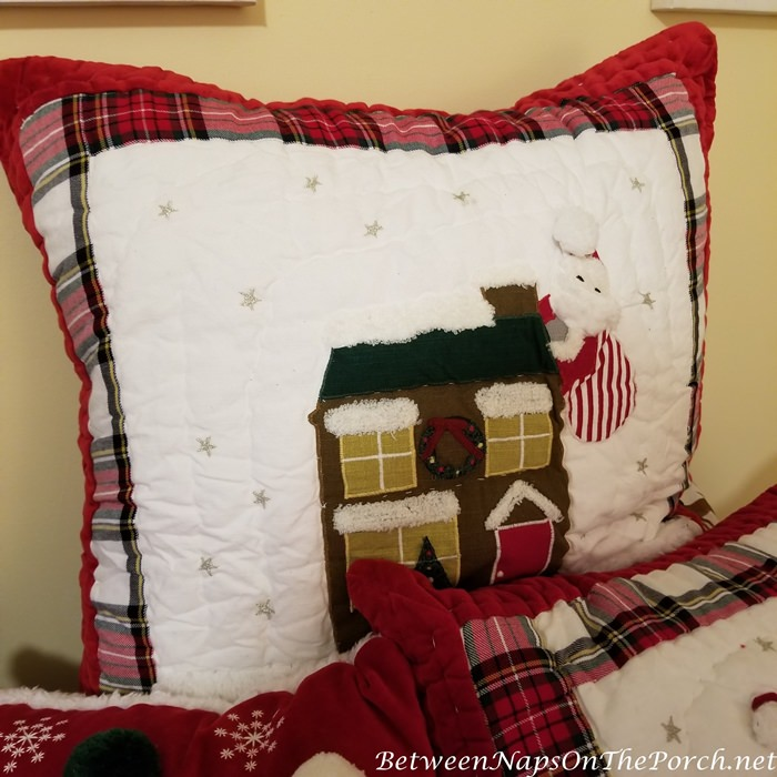 Christmas Pillow Shams, Santa Down the Chimney