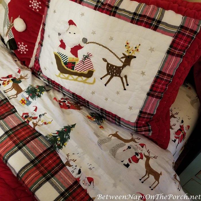 Christmas Pillow Shams, Santa Sheets & Reindeer