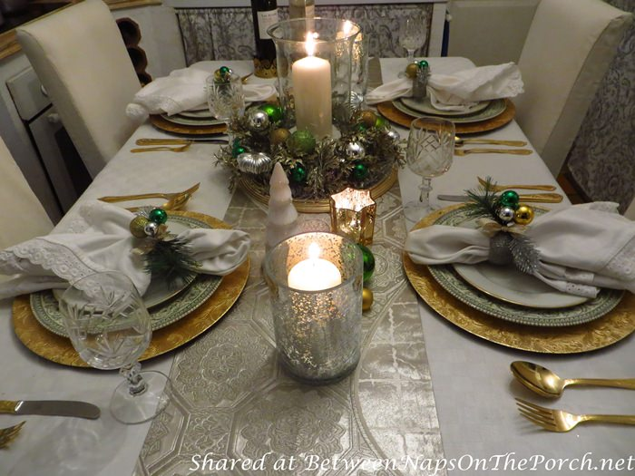 Christmas Table Setting in Green, white, silver and gold