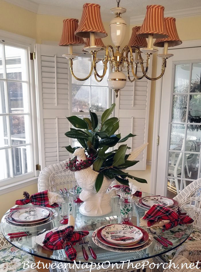 Christmas Table with Magnolia Centerpiece, Pheasant Vase