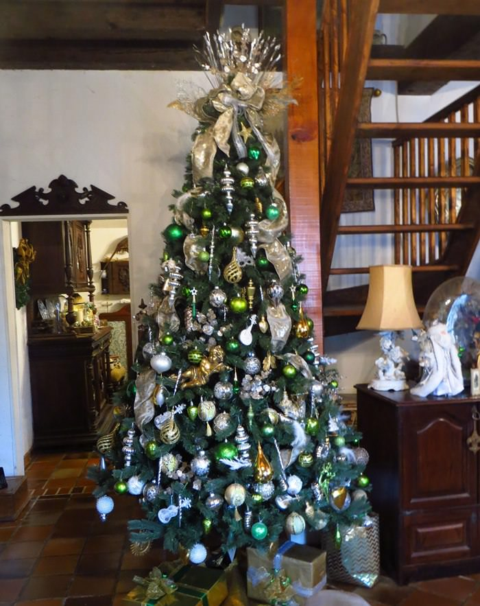 Green, White, Gold, Silver Christmas Tree