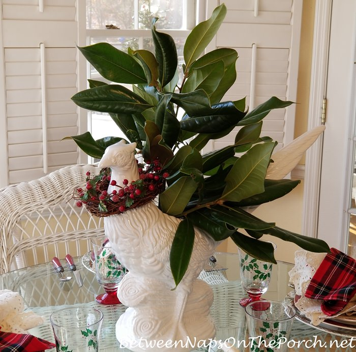 Magnolia Pheasant Centerpiece for Christmas Table Setting